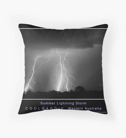 Coolgardie Summer LIghtning Storm BW Throw Pillow
