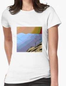MODERN tree ART, hand DRAWN bit by bit digi Womens Fitted T-Shirt