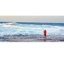 Red On Blue - Rock Fishing Australia Photographic Print