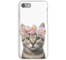 Flower crowned cat iPhone Case/Skin