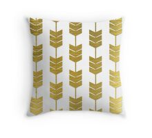 White and Gold Gilded Arrow Tails Throw Pillow
