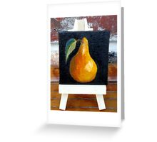 """Miniature Pear with Easel"" Greeting Card"