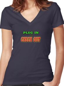 PLUG IN OR CHECK OUT Women's Fitted V-Neck T-Shirt