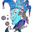 Clown surreal pen ink and pastel drawing by Vitaliy Gonikman