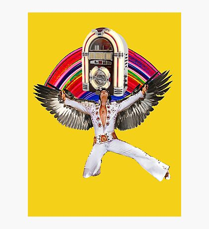 Elvis Brings Forth the Jukebox from the Rainbow in His Magnificent Wings Photographic Print