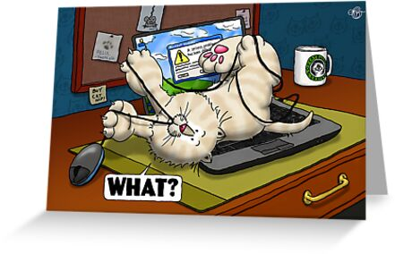 WHAT Cat - Laptop by Martine Carlsen