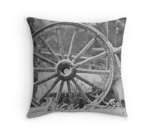 Wagon Weel and Horse Skull Throw Pillow