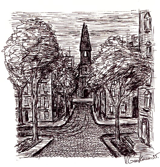 Old Odessa City pen ink drawing by Vitaliy Gonikman