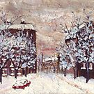 City in snow oil painting by Vitaliy Gonikman