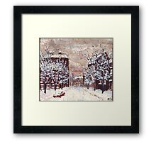 City in snow oil painting Framed Print