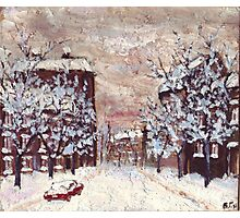 City in snow oil painting Photographic Print