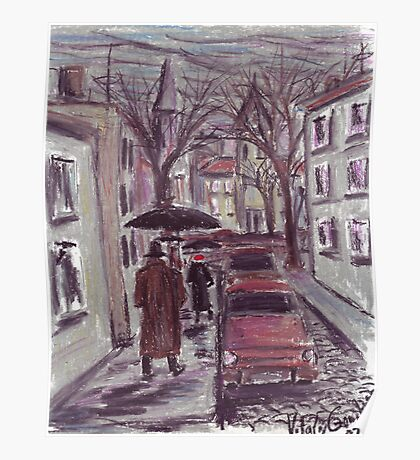 Rainy day. Pastel drawing Poster