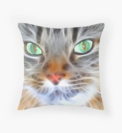 Fractual Feline Throw Pillow