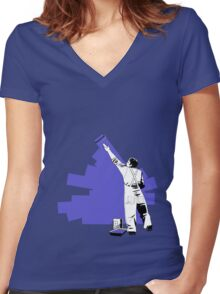 Renovate yourself - blue Women's Fitted V-Neck T-Shirt