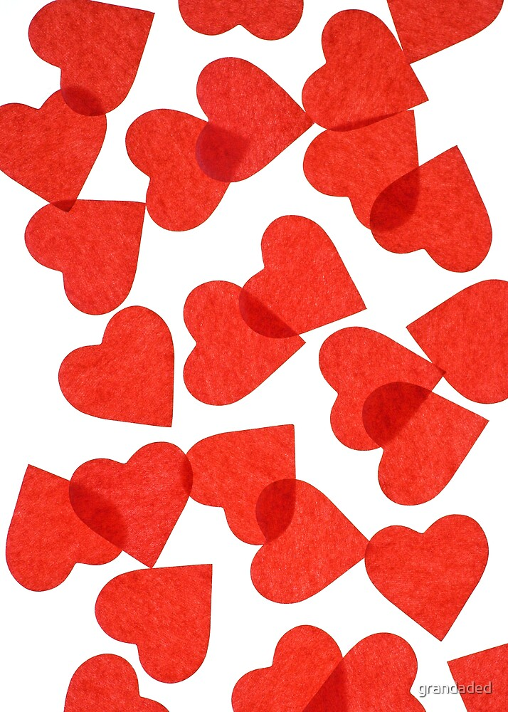 Red Paper Hearts by grandaded