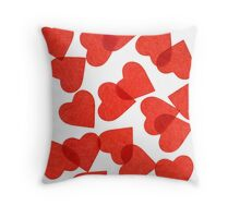 Red Paper Hearts Throw Pillow