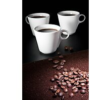three coffee cups Photographic Print
