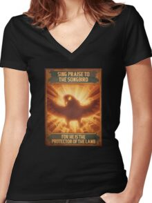 BioShock Infinite – Sing Praise to the Songbird Poster Women's Fitted V-Neck T-Shirt