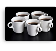 five coffee cups  Canvas Print
