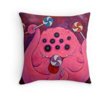 Sweet Tooth Sugar Baby, pink monster with lolly pops Throw Pillow