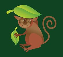A TARSIER wild animal of the Phillipines hiding under leaves by jazzydevil