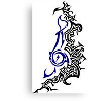 Treble Tribal Modern Design Black Blue Canvas Print