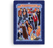 11 time lords inside 1 tardis Canvas Print