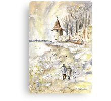 Family Walk In Lindau On Lake Constance Canvas Print