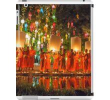 Monks releasing paper Chinese lantern at loy krathong festival of light  iPad Case/Skin