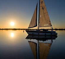 Yacht at Sunset #1 by Alex Wagner