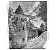 BW France Chateau de Losse Poster