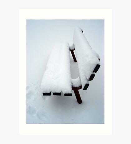 Snowy Bench Art Print