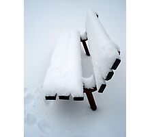 Snowy Bench Photographic Print