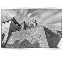 BW France Chateau Beynac Fortress Poster