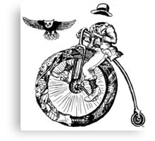 Biker. Surreal black and white pen ink drawing  Canvas Print
