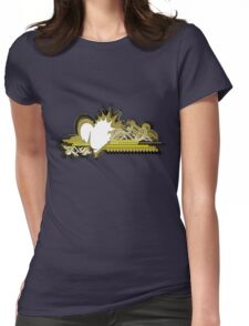 grunge olive heart Womens Fitted T-Shirt
