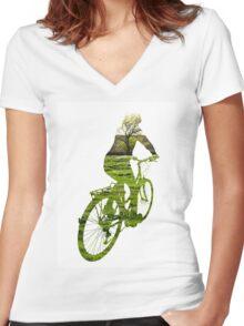 Green Transport 4 Women's Fitted V-Neck T-Shirt