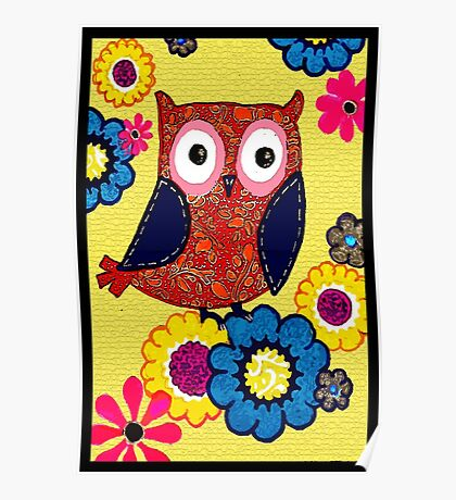 Patch work owl Poster