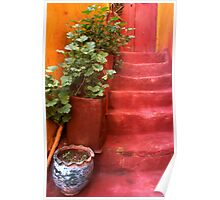Blue Vase, Red Steps. Chania Old Town. Western Crete,Greece. Poster