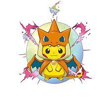 Pikachu Mega Charizard Y Costume Photographic Print