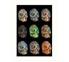Skyrim Pixel Dragon Priest Masks Art Print