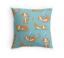 Cute Christmas Cat Throw Pillow