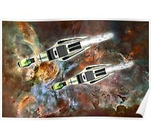 Two Galactic Cruiser/Fighters at NGC 3372 - all products Poster