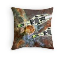 Two Galactic Cruiser/Fighters at NGC 3372 - all products Throw Pillow