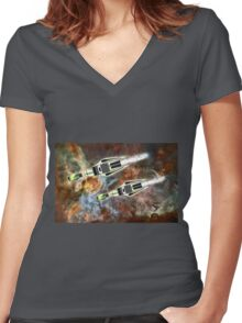 Two Galactic Cruiser/Fighters at NGC 3372  Women's Fitted V-Neck T-Shirt