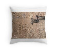 wood duck pair Throw Pillow