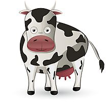 Cartoon black and white cow Photographic Print