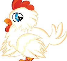 Cartoon white chicken with blue eyes by AnnArtshock