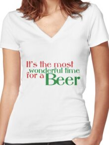 Funny Christmas Beer Parody Women's Fitted V-Neck T-Shirt