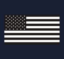 American Flag, STARS & STRIPES, USA, America, Black on Black by TOM HILL - Designer